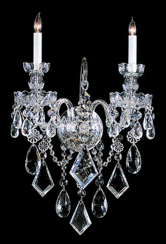Crystorama 1042-CH-CL-MWP 2-Lights Clear Hand Cut Crystal Wall Sconce - Polished Chrome - PeazzLighting