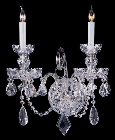 Crystorama 1142-CH-CL-MWP 2-Lights Hand Cut Crystal Wall Mount - Polished Chrome - PeazzLighting