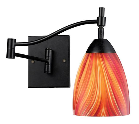 ELK Lighting Celina Celina 1-Light Swingarm Sconce In Dark Rust And Multi Glass - 10151/1DR-M - PeazzLighting