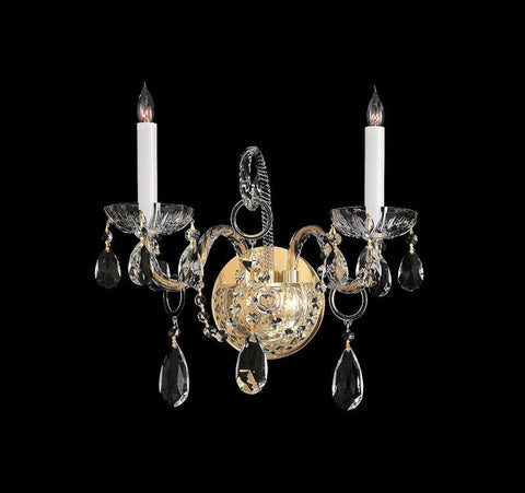 Crystorama 1122-PB-CL-SAQ 2-Lights Swarovski Spectra Crystal Wall Sconce - Polished Brass - PeazzLighting