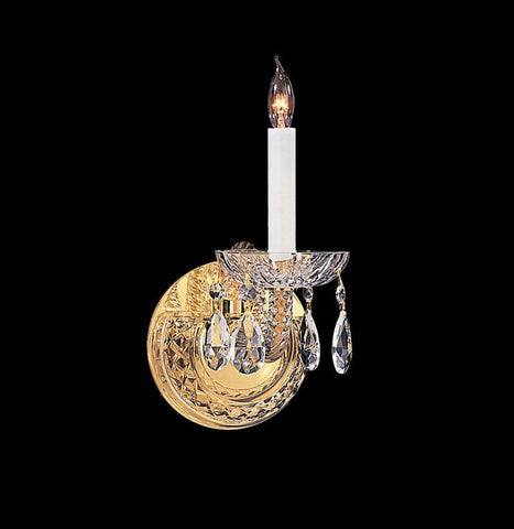 Crystorama 1121-PB-CL-MWP 1-Lights Hand Cut Crystal Wall Mount - Polished Brass - PeazzLighting