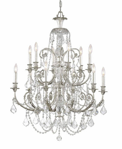 Crystorama Clear Hand Cut Crystal Wrought Iron Chandelier 6 Lights - Olde Silver - 5119-OS-CL-MWP - PeazzLighting