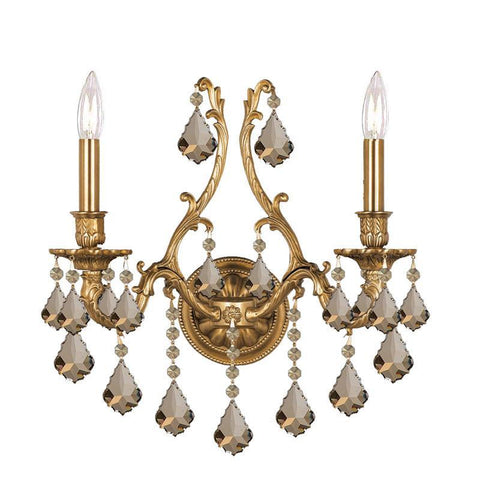 Crystorama 5142-AG-GT-MWP 2-Lights Ornate Aged Brass Sconce Accented With Golden Teak Hand Cut Crystal - Aged Brass - PeazzLighting