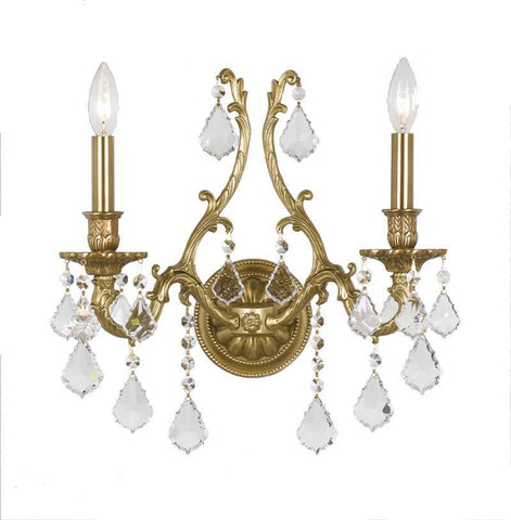 Crystorama 5142-AG-CL-SAQ 2-Lights Ornate Aged Brass Sconce Accented With Swarovski Spectra Crystal - Aged Brass - PeazzLighting