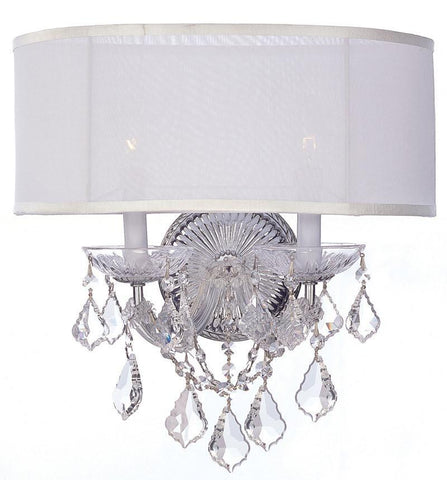 Crystorama 4482-CH-SMW-CL-SAQ 2-Lights Brentwood Sconce Draped In Swarovski Spectra Crystal - Polished Chrome - PeazzLighting