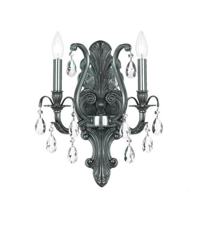Crystorama 5563-PW-CL-S 2-Lights Swarovski Elements Wall Mount - Pewter - PeazzLighting