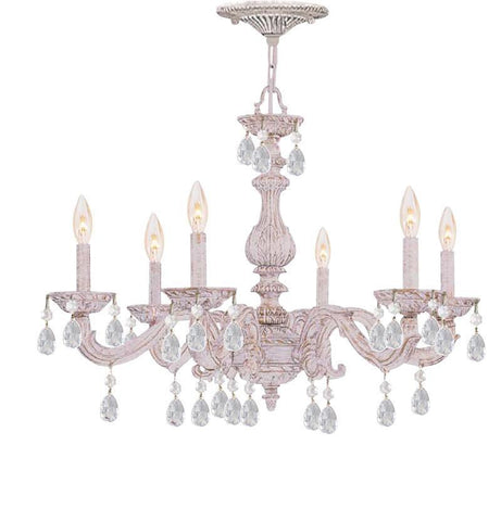 Crystorama Swarovski Spectra Crystal Chandelier 6 Lights - Antique White - 5036-AW-CL-SAQ - PeazzLighting