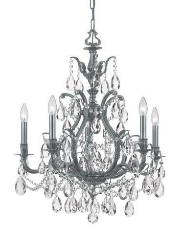 Crystorama Clear Hand Cut Crystal Chandelier 5 Lights - Pewter - 5575-PW-CL-MWP - PeazzLighting