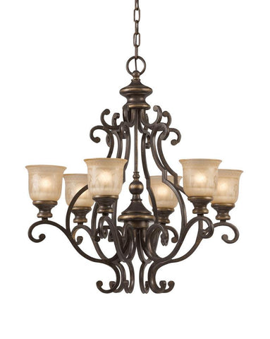 Crystorama Wrought Iron Chandelier Handpainted with a Amber Glass Pattern 6 Lights - Bronze Umber - 7416-BU - PeazzLighting