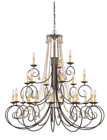 Crystorama SOHO Natural Wrought Iron Chandelier Accented with Golden Teak Swarovski Elements Crystal 21 Lights - Dark Rust - 5219-DR-GTS - PeazzLighting