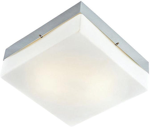 Cornerstone 7852FM/40 2 Light Flush Mount In Chrome And White Glass - PeazzLighting