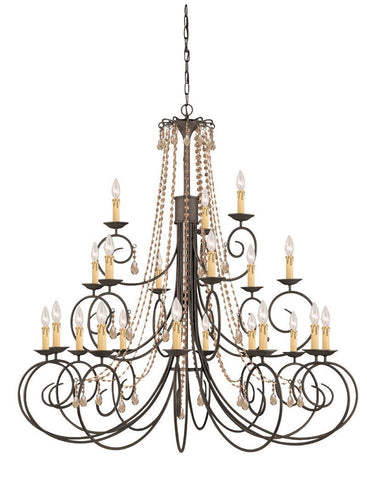 Crystorama SOHO Natural Wrought Iron Chandelier Accented with Golden Teak Hand Cut Crystal 21 Lights - Dark Rust - 5219-DR-GT-MWP - PeazzLighting