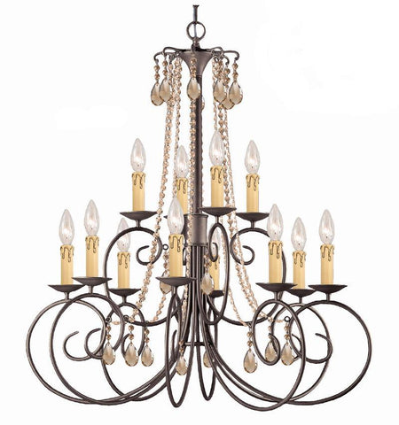 Crystorama SOHO Natural Wrought Iron Chandelier Accented with Golden Teak Hand Cut Crystal 12 Lights - Dark Rust - 5212-DR-GT-MWP - PeazzLighting
