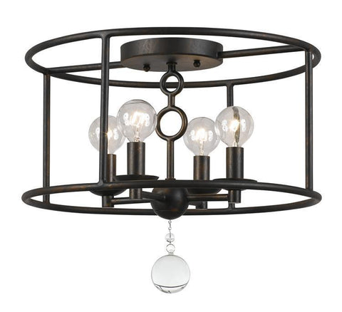 Crystorama 9267-EB Cameron 4 Light Bronze Semi-Flush - PeazzLighting