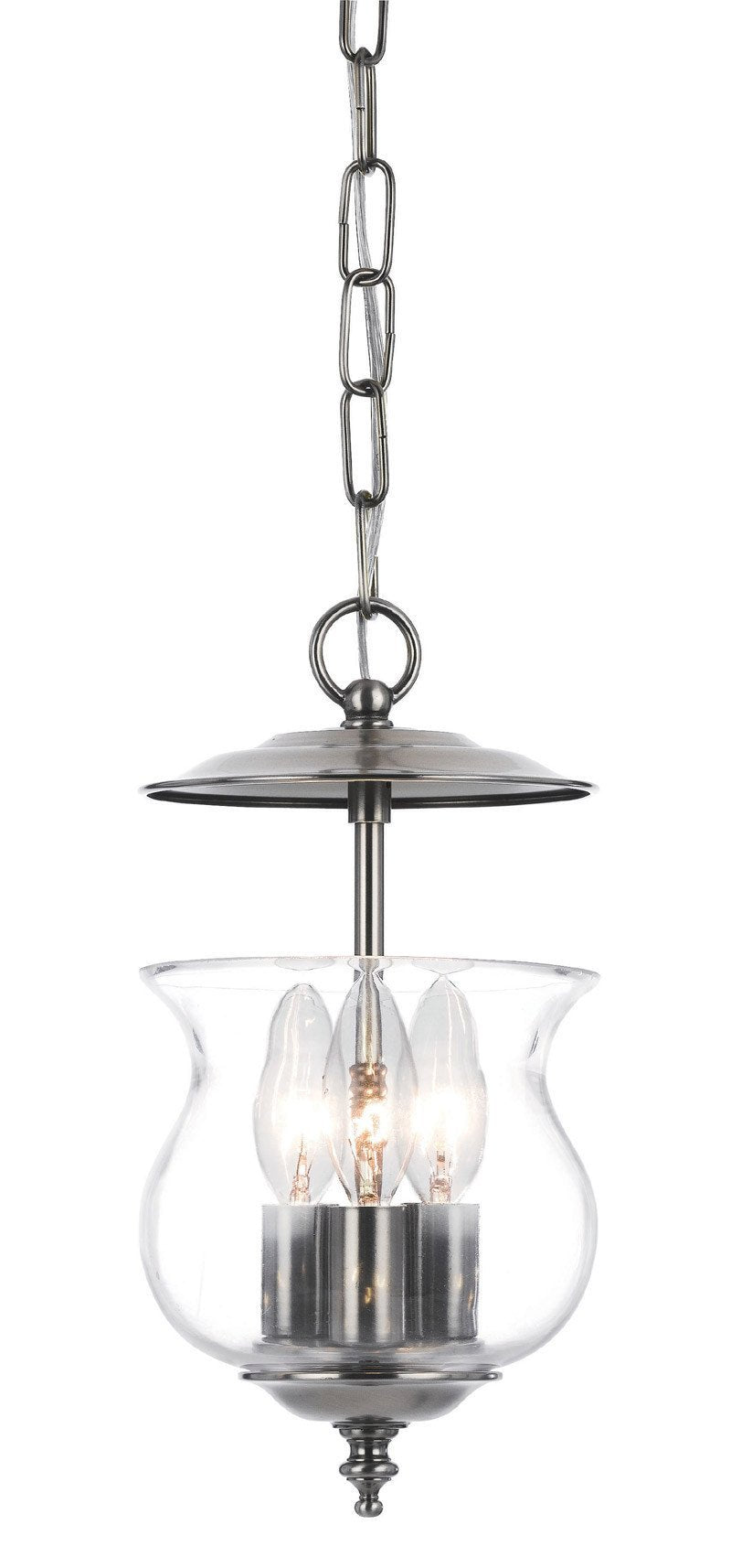 Crystorama 5717-PW 3-Lights Traditional Bell Jar Finished In Pewter. - Pewter