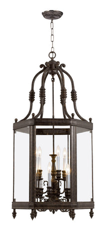 Crystorama 949-VB 6-Lights Solid Brass Material Venetian Bronze Finish Clear Glass Beveled Lantern - Venetian Bronze - PeazzLighting