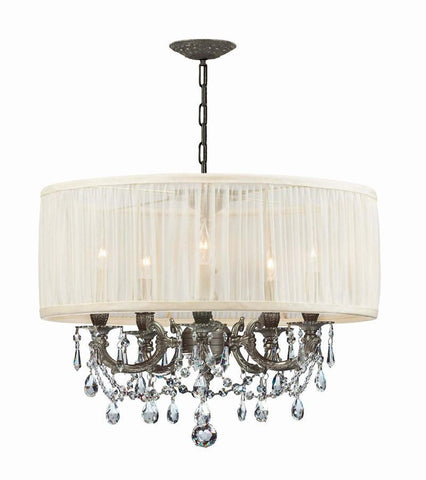 Crystorama Ornate Casted Pewter Chandelier with Clear Swarovski Spectra Crystal and a antique white Shade 5 Lights - Pewter - 5535-PW-SAW-CLQ - PeazzLighting