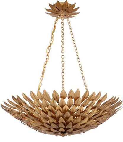 Crystorama 517-GA Broche 6 Light Antique Gold Leaf Pendant Chandelier - PeazzLighting