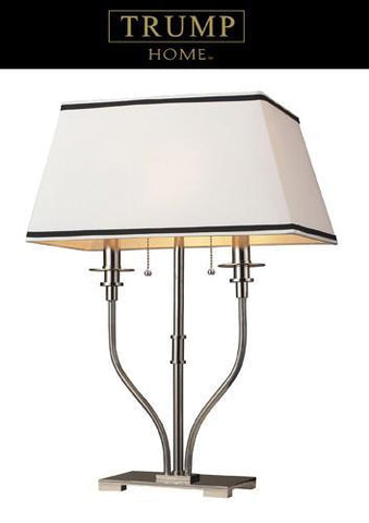 Dimond 1621/2 Tribeca 2 Light Desk Lamp In Polished Nickel And White Shade With Black Trim - PeazzLighting