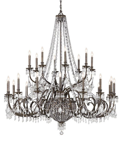 Crystorama Wrought Iron Hand Cut Lead Crystal Chandelier 16 Lights - English Bronze - 5170-EB-CL-MWP - PeazzLighting