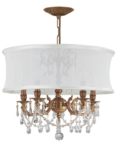 Crystorama Ornate Aged Brass chandelier with spectra Crystal Chandelier with a Smooth Antique White Silk Shade 5 Lights - Aged Brass - 5535-AG-SMW-CLQ - PeazzLighting