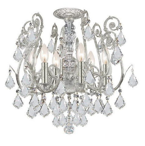 Crystorama 5115-OS-CL-S 6-Lights Clear Strass Crystal Wrought Iron Semi-Flush - Olde Silver - PeazzLighting