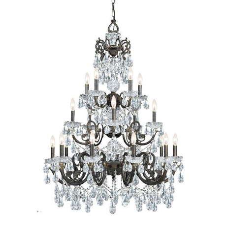 Crystorama Ornate Chandelier Accented with Swarovski Elements Crystal 10 Lights - English Bronze - 5190-EB-CL-S - PeazzLighting