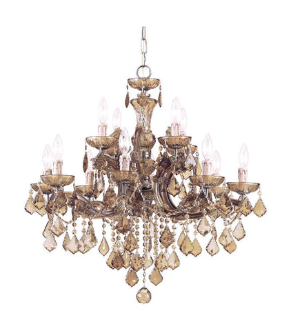 Crystorama Maria Theresa Chandelier Draped in Golden Teak Swarovski Elements Crystal 8 Lights - Antique Brass - 4479-AB-GTS - PeazzLighting