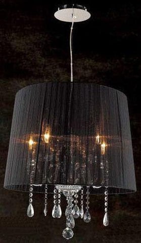 "Gen-Lite 101442N 64"" Five Light Chrome Finish Black Sheer Shade - PeazzLighting"