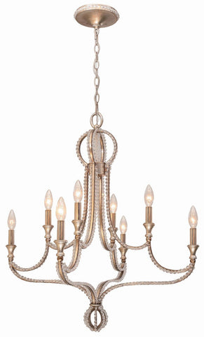 Crystorama Chandelier with clear beads and Distressed Twilight finish. 8 Lights - Distressed Twilight - 6768-DT - PeazzLighting
