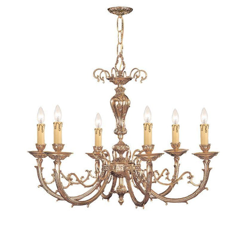 Crystorama Ornate Cast Brass Chandelier 8 Lights - Olde Brass - 489-OB - PeazzLighting