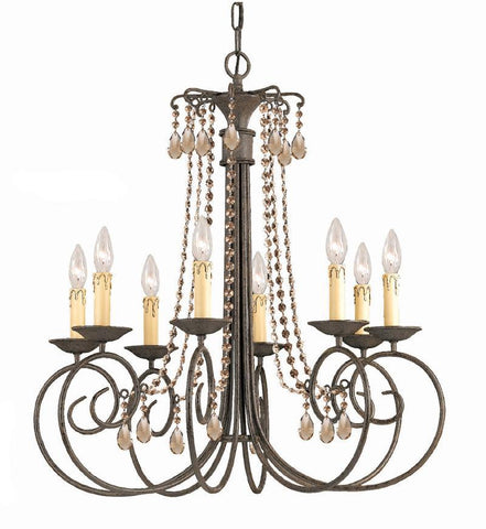 Crystorama SOHO Natural Wrought Iron Chandelier Accented with Golden Teak Hand Cut Crystal 8 Lights - Dark Rust - 5208-DR-GT-MWP - PeazzLighting