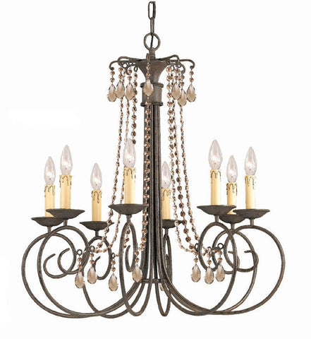 Crystorama SOHO Natural Wrought Iron Chandelier Accented with Golden Teak Swarovski Elements Crystal 8 Lights - Dark Rust - 5208-DR-GTS - PeazzLighting