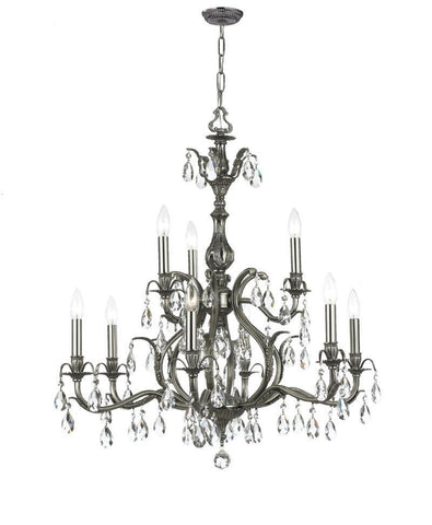 Crystorama Clear Hand Cut Crystal Chandelier 9 Lights - Pewter - 5569-PW-CL-MWP - PeazzLighting