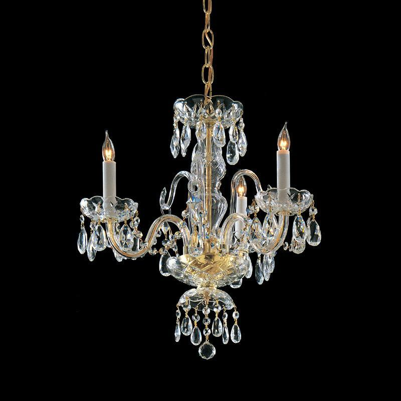 Crystorama Clear Hand Cut Crystal Chandelier 3 Lights - Polished Brass - 5044-PB-CL-MWP