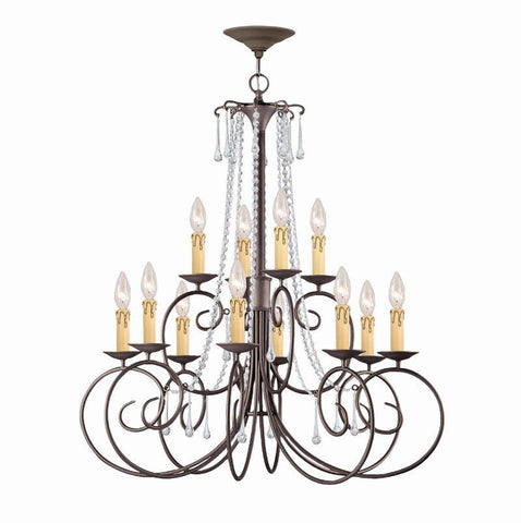 Crystorama SOHO Natural Wrought Iron Chandelier Accented with Swarovski Spectra Crystal 12 Lights - Dark Rust - 5212-DR-CL-SAQ - PeazzLighting