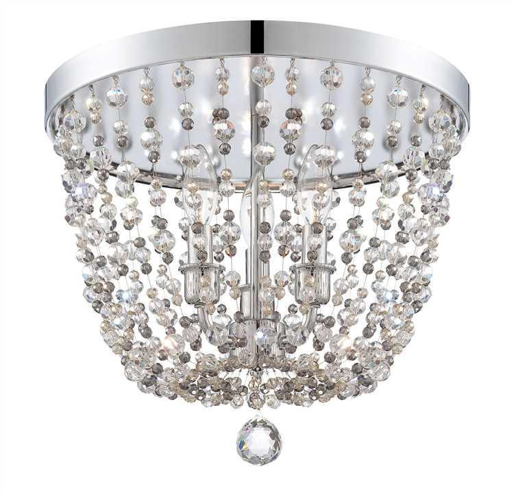 Crystorama 1540-CH-MWP Channing 3 Light Chrome Flush Mount