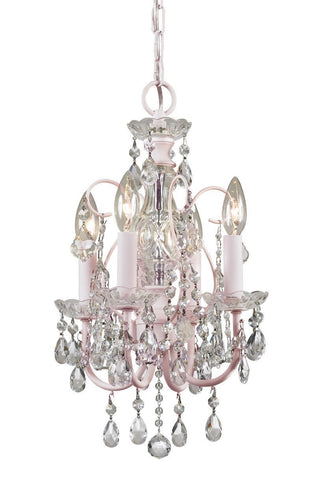 Crystorama Paris Flea Market Mini chandelier in Blush (soft pale pink) and adorned with clear hand cut crystal jewels. 4 Lights - Blush - 3224-BH-CL-MWP - PeazzLighting