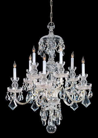 Crystorama Swarovski Spectra Crystal Chandelier 5 Lights - Polished Brass - 1140-PB-CL-SAQ - PeazzLighting