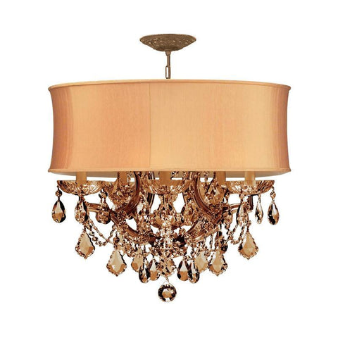 Crystorama Antique Brass Maria Theresa Chandelier Draped in Golden Teak Hand Cut Crystal and accented with a Harvest Gold Shade. 5 Lights - Antique Brass - 4415-AB-SHG-GTM - PeazzLighting