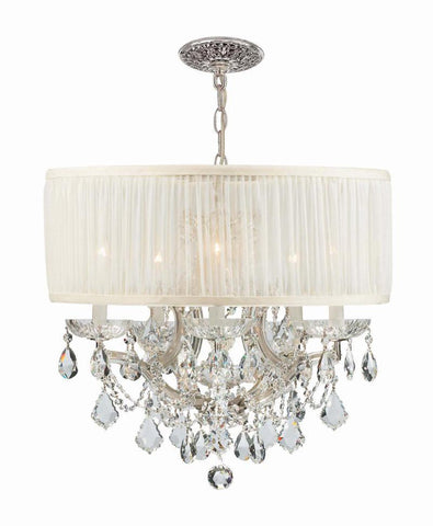 Crystorama Polished Chrome Maria Theresa Chandelier Draped in Clear Swarovski Elements Crystal and accented with a Antique White Shade. 5 Lights - Polished Chrome - 4415-CH-SAW-CLS - PeazzLighting
