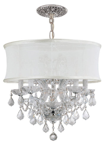 Crystorama Polished Chrome Maria Theresa Chandelier Draped in Clear Swarovski Elements Crystal and accented with a Smooth Antique White Silk Shade. 5 Lights - Polished Chrome - 4415-CH-SMW-CLS - PeazzLighting