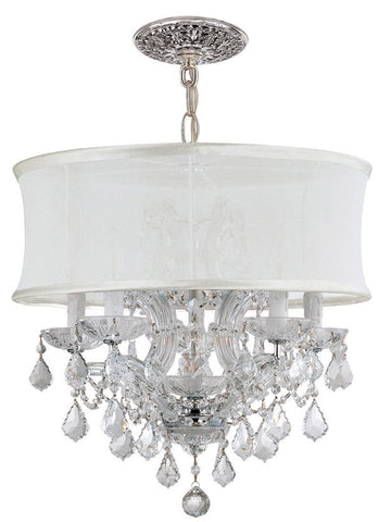 Crystorama Polished Chrome Maria Theresa Chandelier Draped in Clear Swarovski Spectra Crystal and accented with a Smooth Antique White Silk Shade. 5 Lights - Polished Chrome - 4415-CH-SMW-CLQ - PeazzLighting