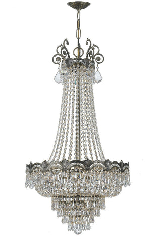 Crystorama Sold Cast Brass Ornate Crystal Chandelier 5 Lights - Historic Brass - 1487-HB-CL-SAQ - PeazzLighting