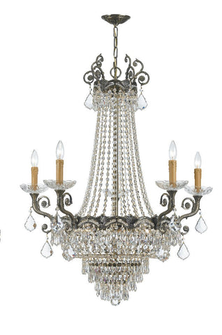 Crystorama Sold Cast Brass Ornate Crystal Chandelier 5 Lights - Historic Brass - 1486-HB-CL-SAQ - PeazzLighting