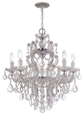 Crystorama Maria Theresa Chandelier Draped in Clear Hand Cut Crystal 5 Lights - Polished Chrome - 4435-CH-CL-MWP - PeazzLighting