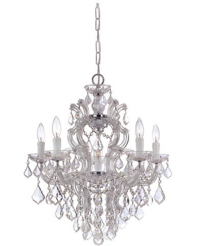 Crystorama Maria Theresa Chandelier Draped in Clear Swarovski Elements Crystal 5 Lights - Polished Chrome - 4435-CH-CL-S - PeazzLighting