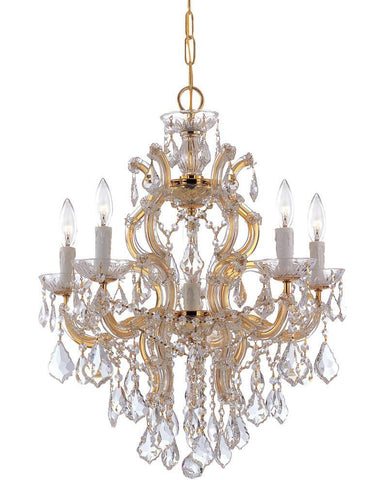 Crystorama Maria Theresa Chandelier Draped in Clear Swarovski Spectra Crystal 5 Lights - Polished Gold - 4435-GD-CL-SAQ - PeazzLighting