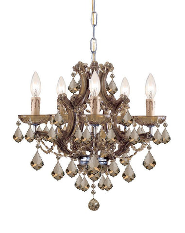 Crystorama Maria Theresa Chandelier Draped in Golden Teak Hand Cut Crystal 5 Lights - Antique Brass - 4405-AB-GT-MWP - PeazzLighting