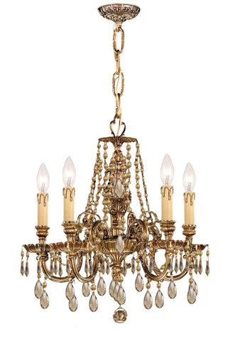 Crystorama Ornate Cast Brass Chandelier Accented with Golden Teak Strass Crystal 5 Lights - Olde Brass - 2805-OB-GTS - PeazzLighting